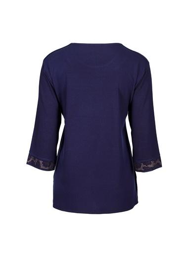 Butik Triko 3760 Leopar Taşlı Bluz Lacivert
